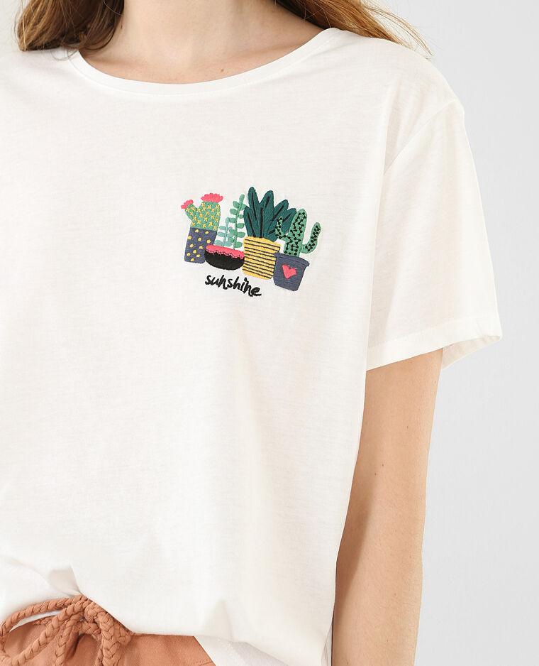 T-shirt broderie cactus blanc cassé - Pimkie