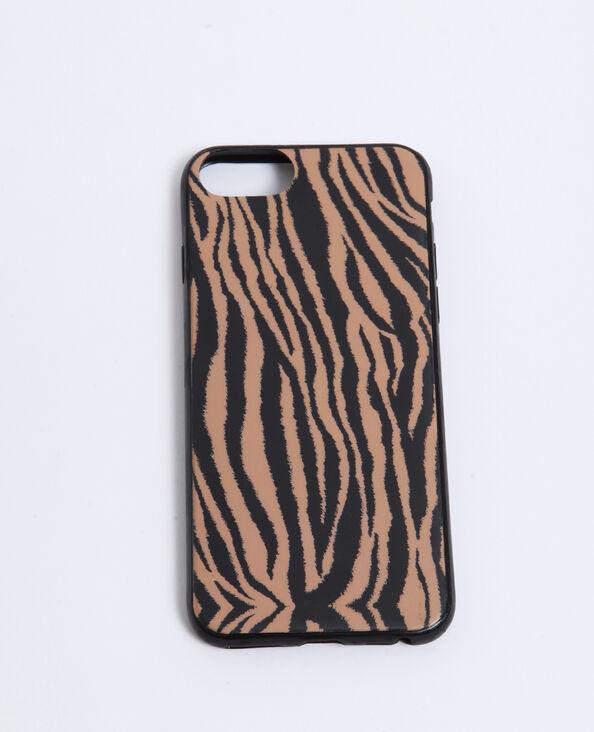Coque compatible iPhone zébrée marron