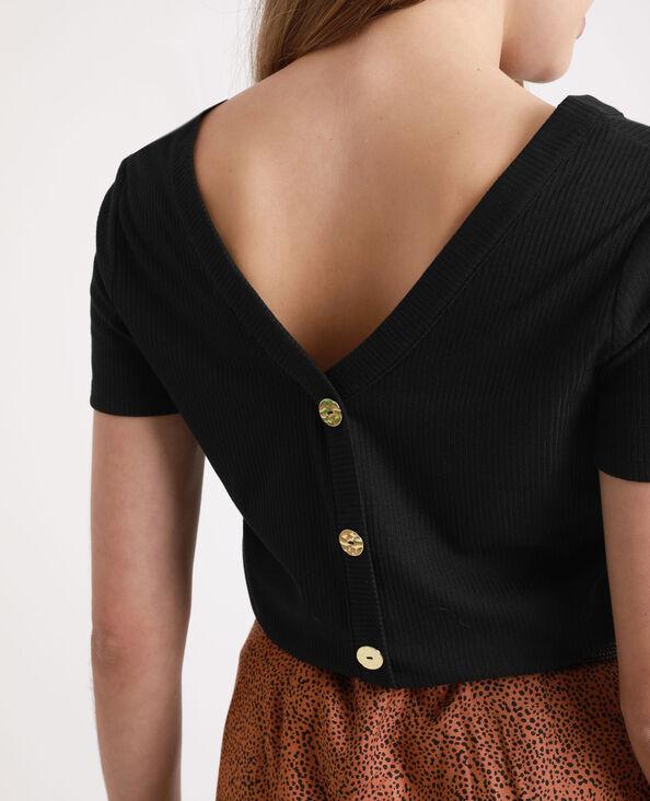 T-shirt boutonné noir