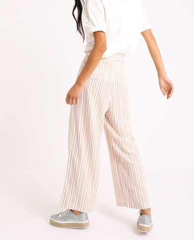 Pantalon large rayé beige sable