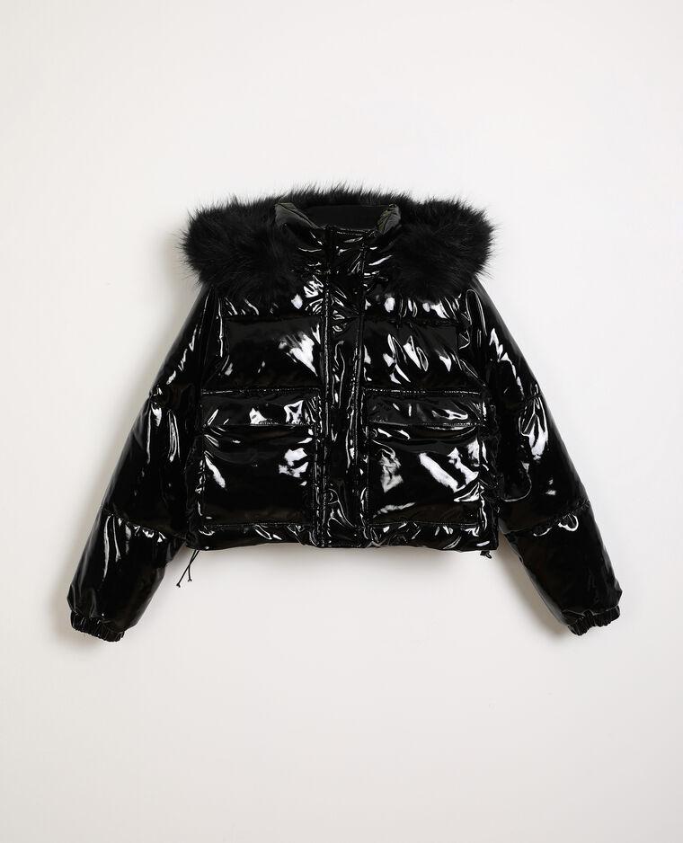 Doudoune courte en vinyl noir - Pimkie