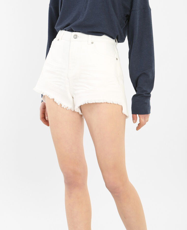 Short denim effiloché blanc
