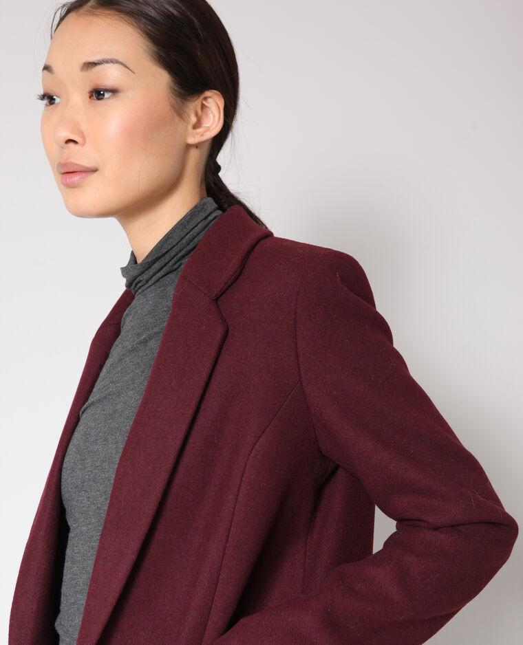 Manteau droit en laine bordeaux
