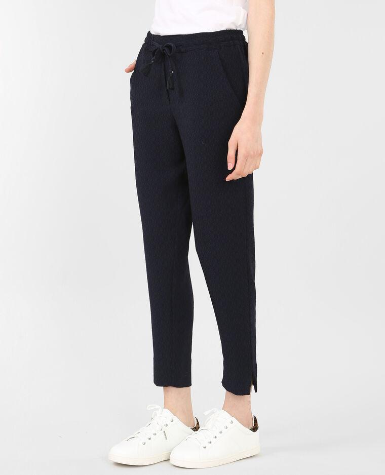 pantalon fluide textur bleu marine 145154635a06 pimkie. Black Bedroom Furniture Sets. Home Design Ideas