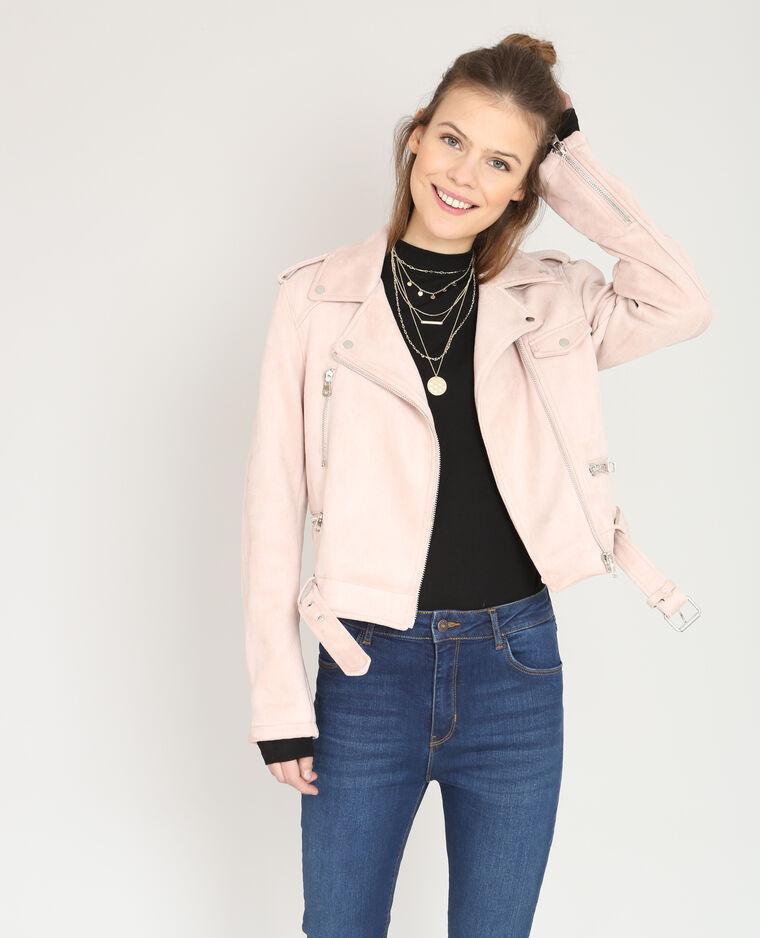 Veste style perfecto suédine rose