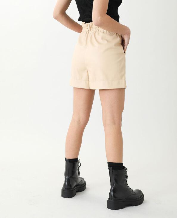 Short taille haute en simili cuir beige - Pimkie