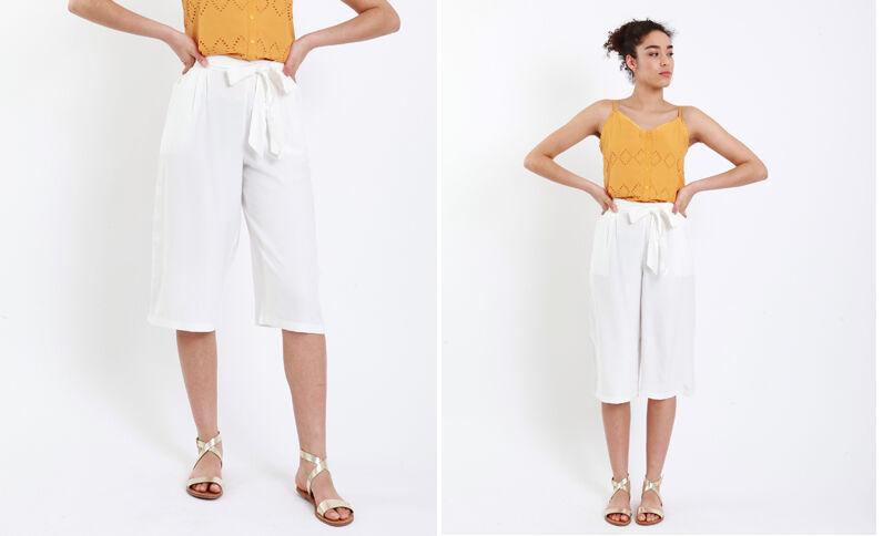 Jupe culotte fluide blanc