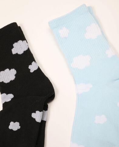 Lot de 2 paires de chaussettes nuages bleu - Pimkie