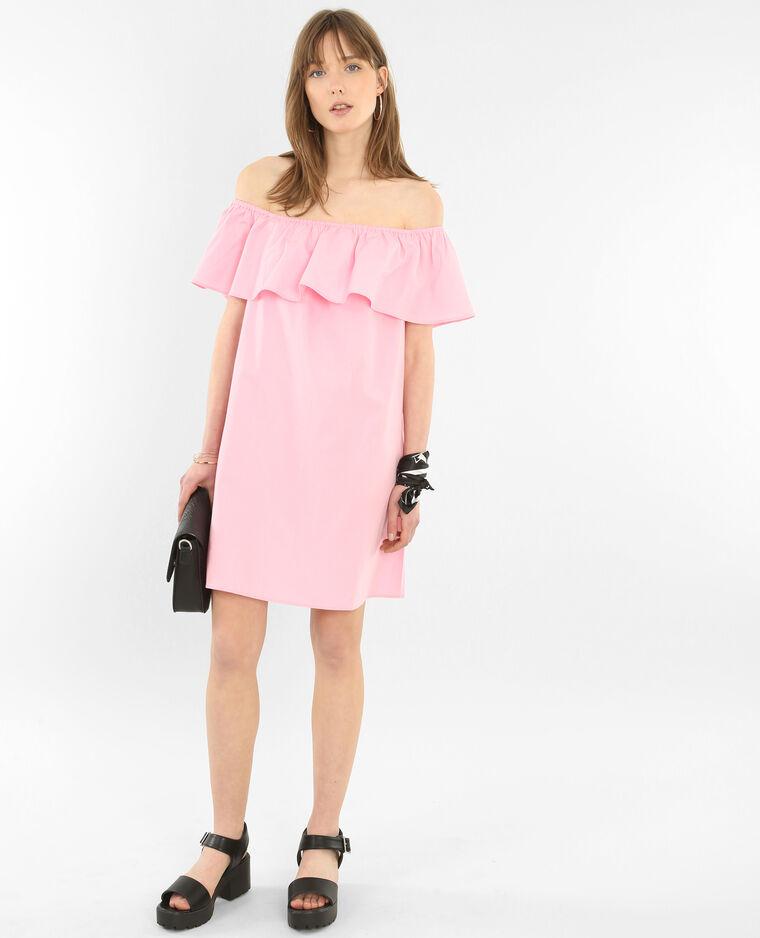 Robe popeline col bardot rose
