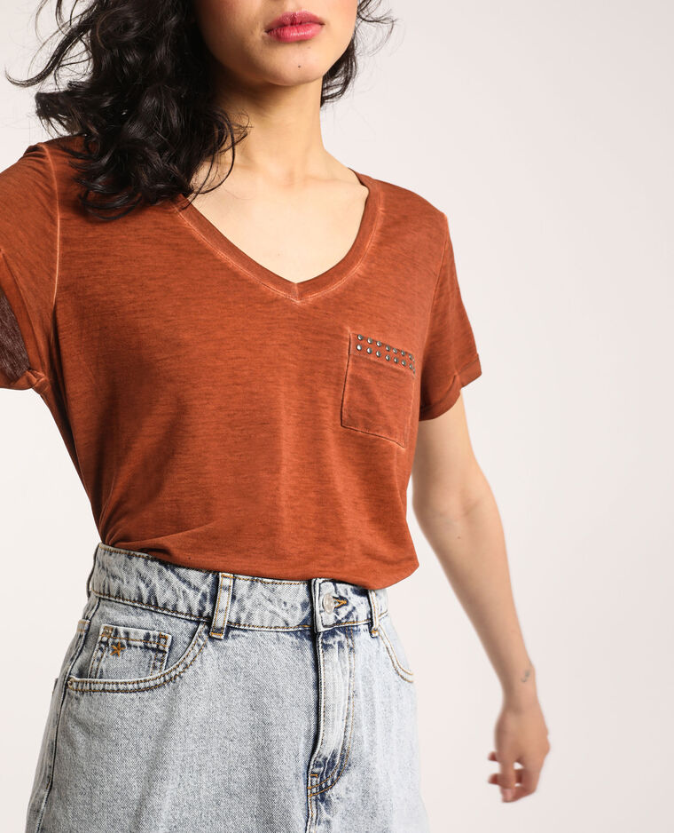 T-shirt à col V marron - Pimkie