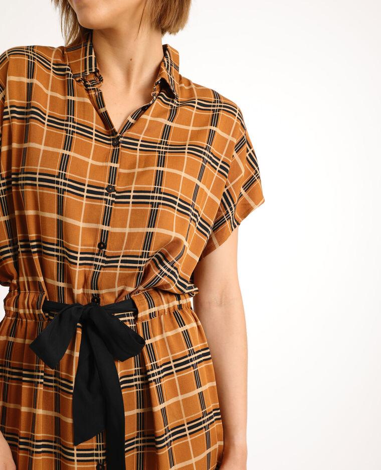 Robe chemise nouée marron