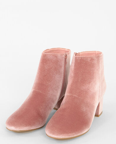 Boots velours rose - Pimkie
