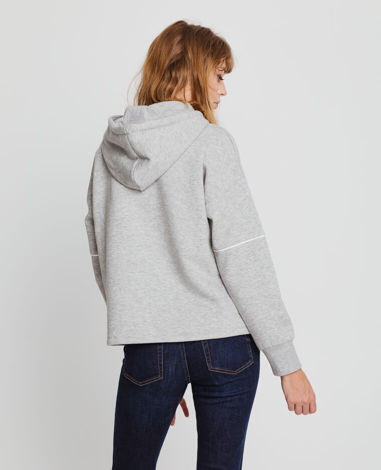 Sweat à capuche gris chiné