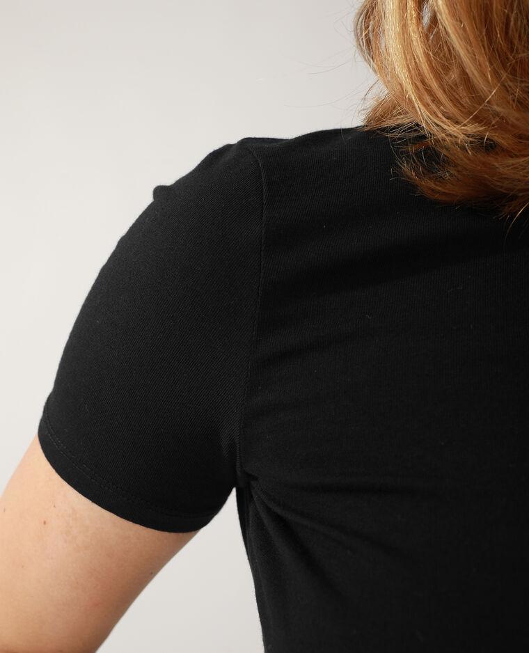 T-shirt cropped à nouer noir - Pimkie