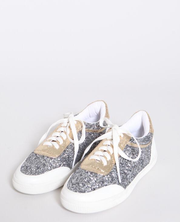 Baskets à paillettes gris argenté