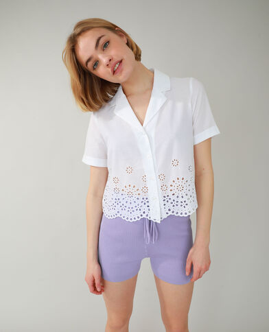 Chemise avec broderie anglaise blanc - Pimkie
