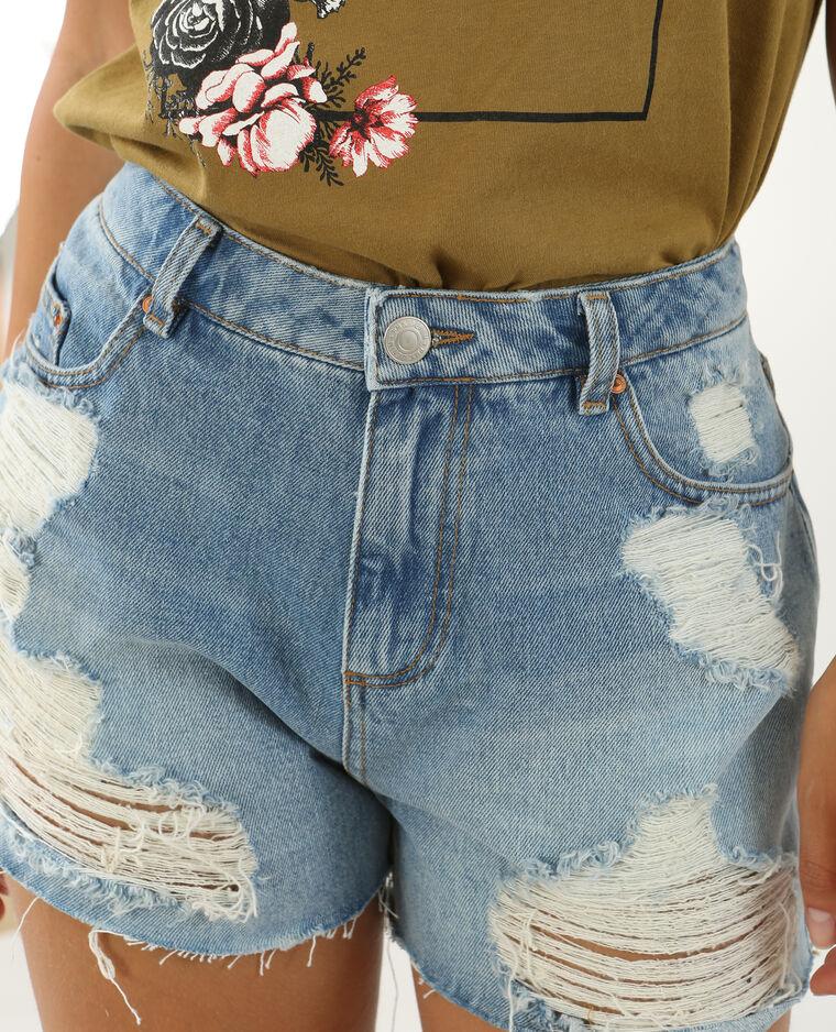 Short en jean taille haute bleu délavé