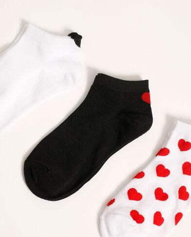 Lot de 3 paires de chaussettes basses cœurs grenat - Pimkie