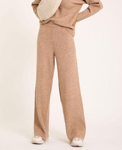 Pantalon tricot beige