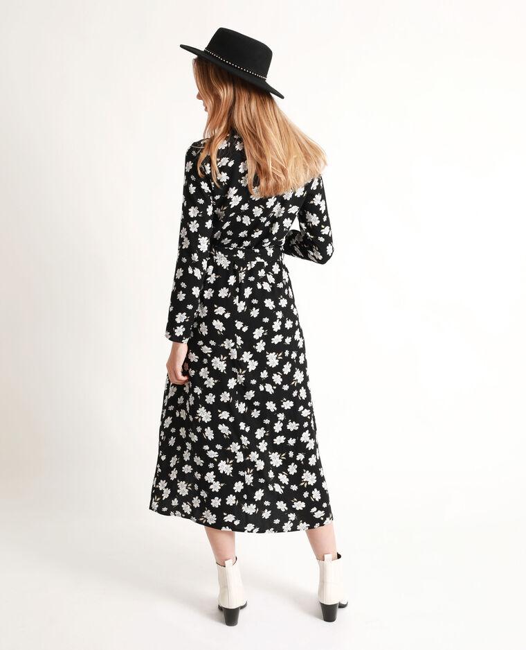 robe longue fleurie noire et blanc