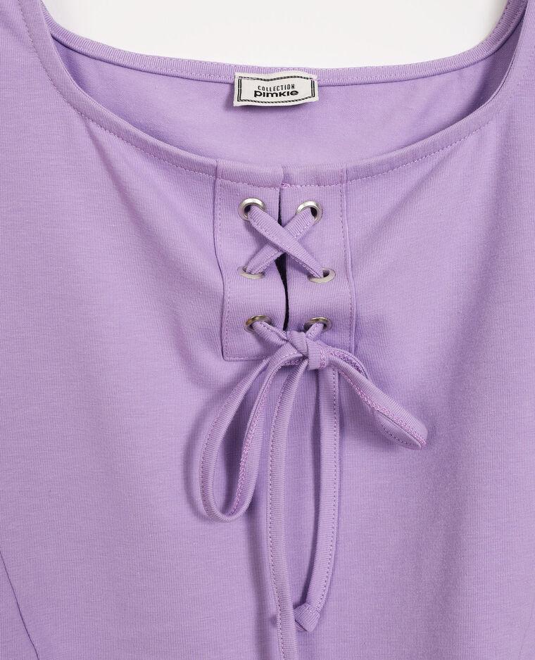 Top court à lacets lilas