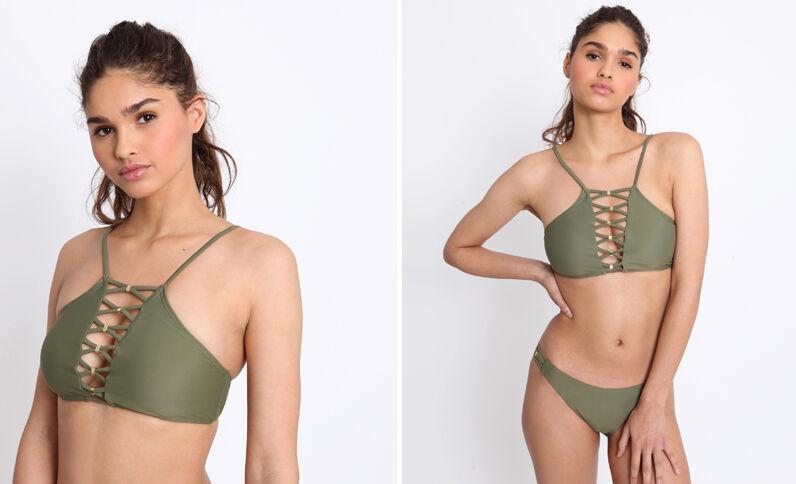 Haut de bikini halter top vert