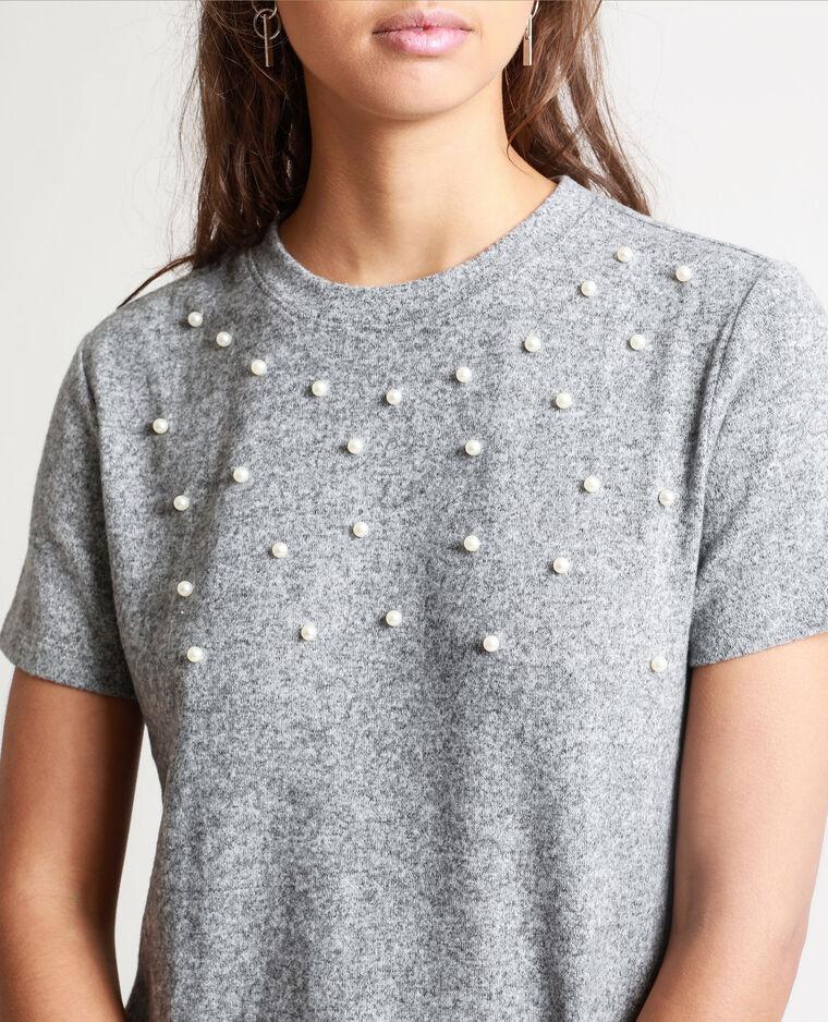 T-shirt à perles gris chiné