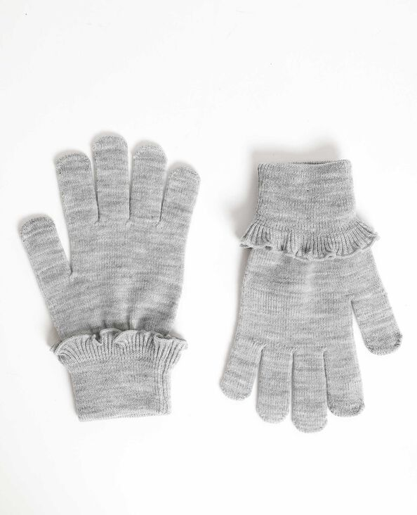 Gants à volants gris chiné