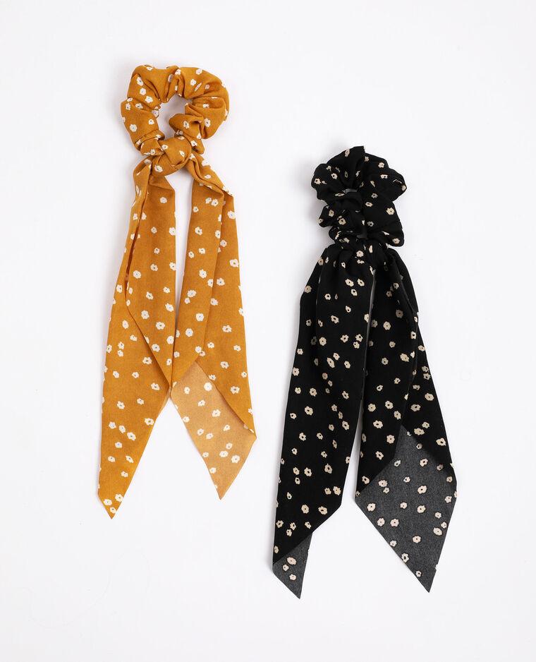 Lot de 2 chouchous à rubans noir + jaune - Pimkie
