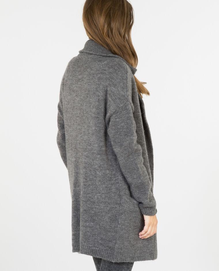 Gilet long col manteau gris