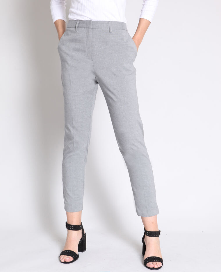 Pantalon cigarette gris chiné