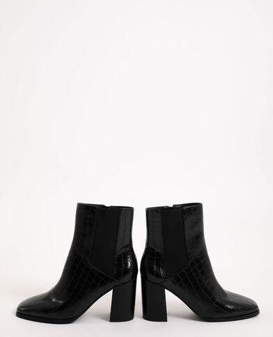 Boots effet croco noir