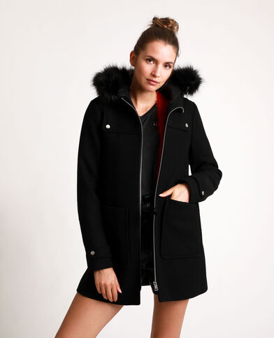 Manteau à capuche noir