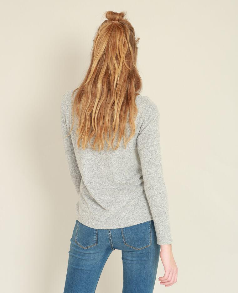 T-shirt doux à lacets gris perle