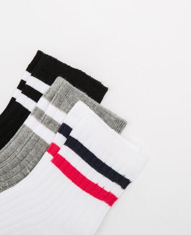 Lot de chaussettes à bandes noir