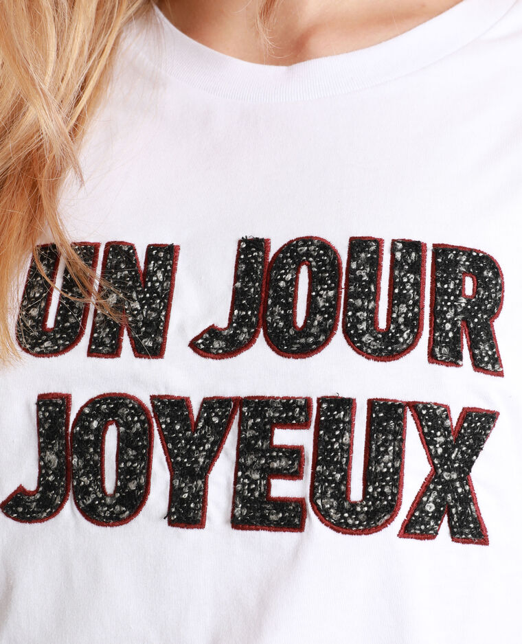T-shirt à message blanc