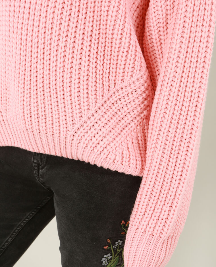 Pull à grosse maille rouge