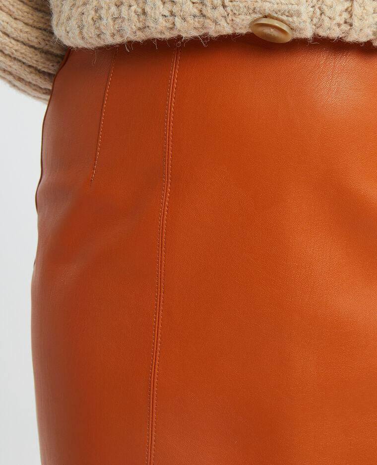 Mini-jupe droite simili cuir caramel - Pimkie