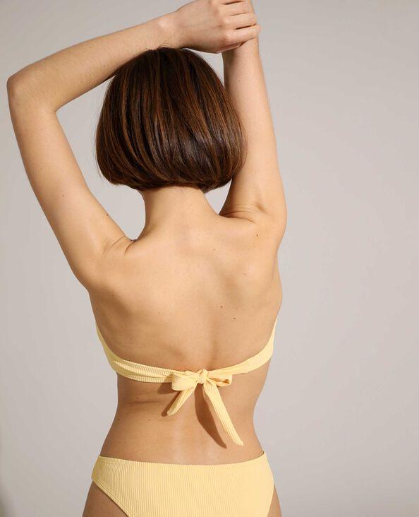 Haut de maillot bandeau côtelé jaune pâle