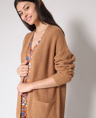 Gilet mi-long beige sable