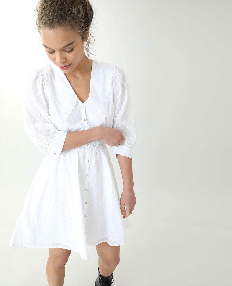 Robe à gros plumetis blanc cassé