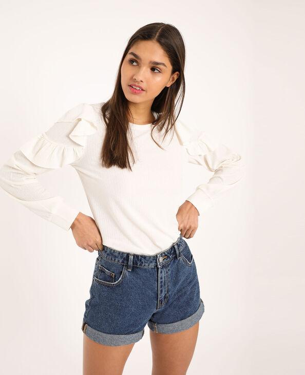 T-shirt à manches longues blanc cassé