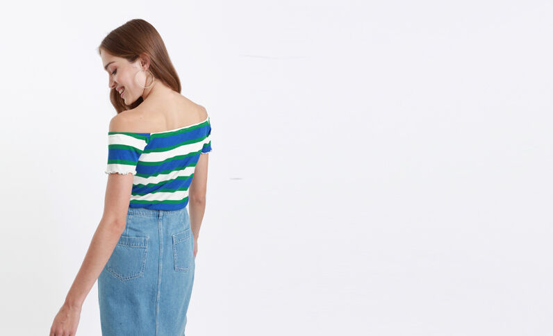 T-shirt petit col V bleu