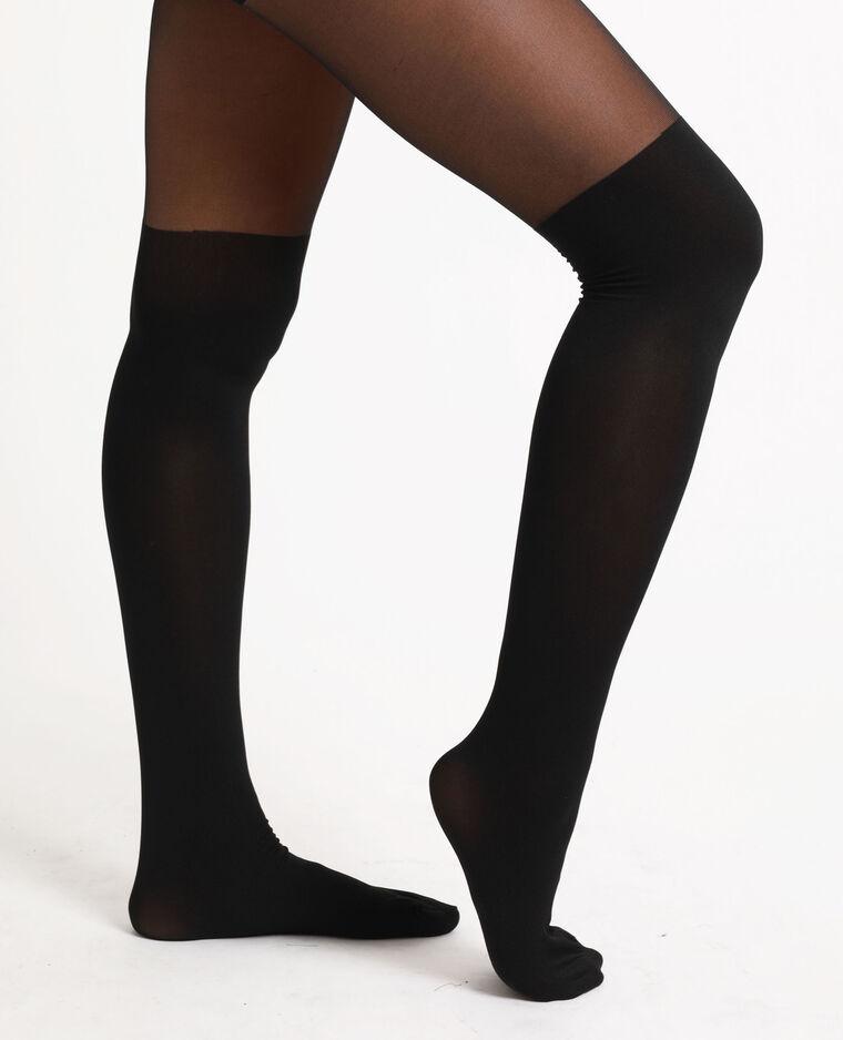 Collants effet chaussettes noir