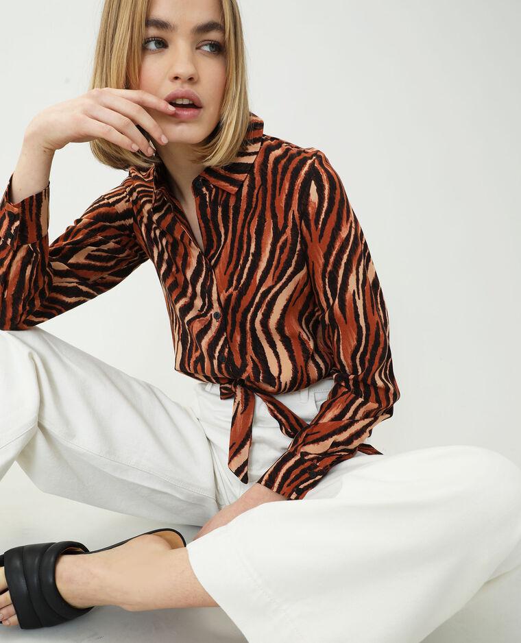Chemise nouée zébrée marron - Pimkie