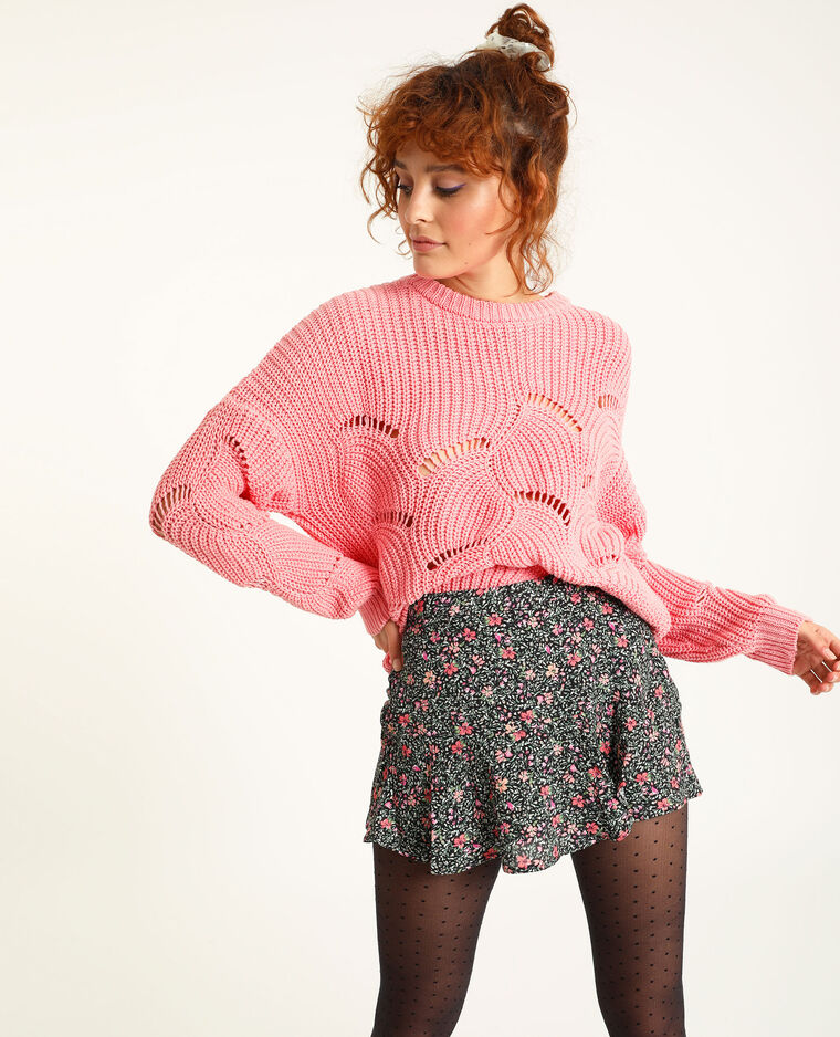 Pull maille ajourée rose pastel