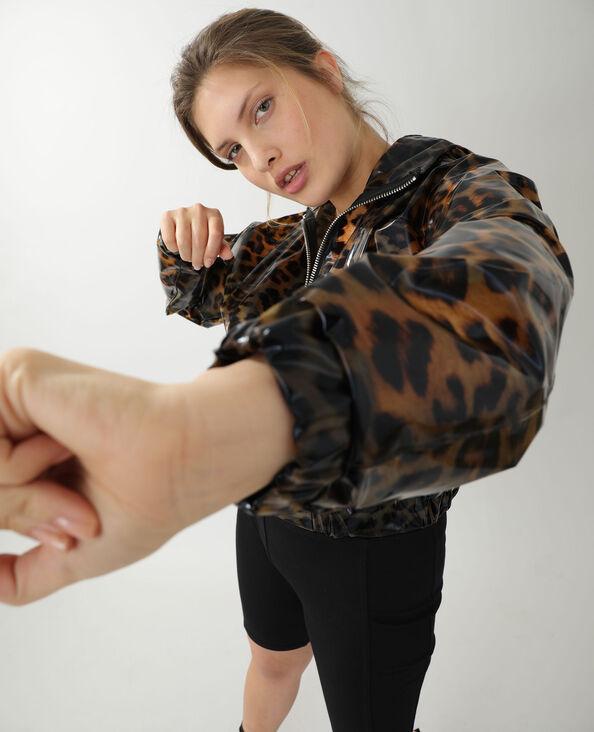 Veste imperméable léopard marron