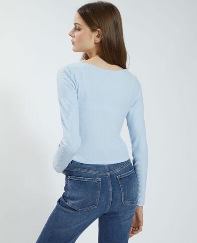 T-shirt côtelé à nouer toucher doux bleu ciel - Pimkie