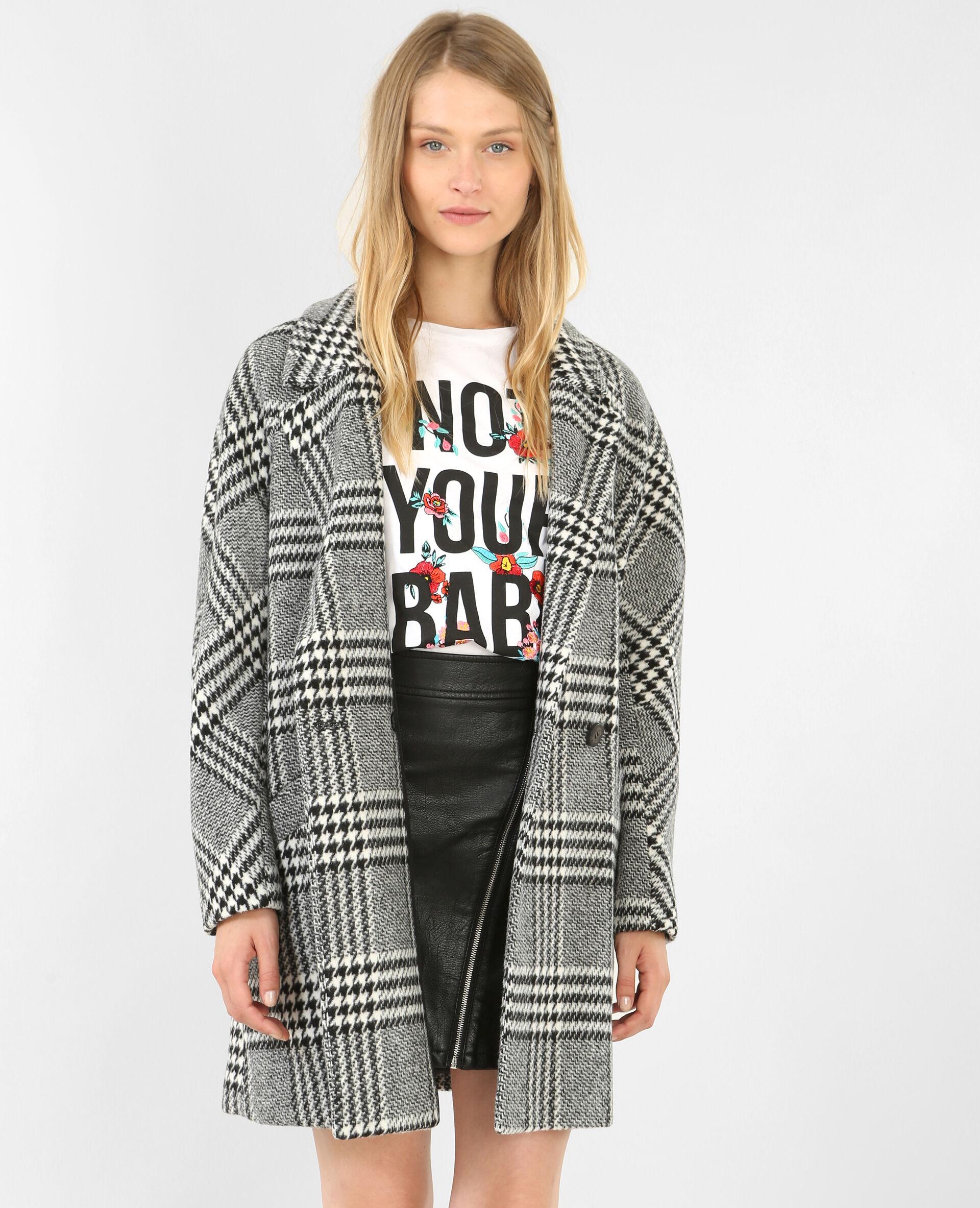 Manteau gris carreaux