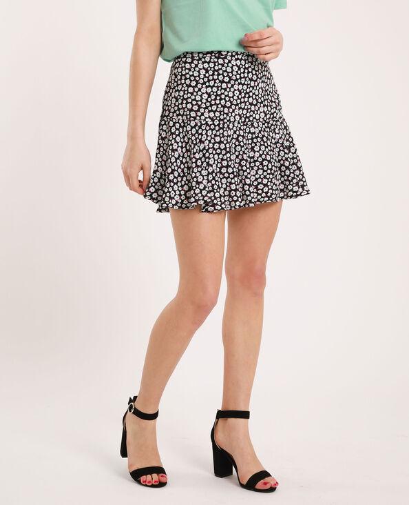 Mini jupe à fleurs noir